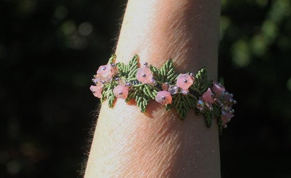 Bracciale di perline Micro Macrame fiore rosa pastello