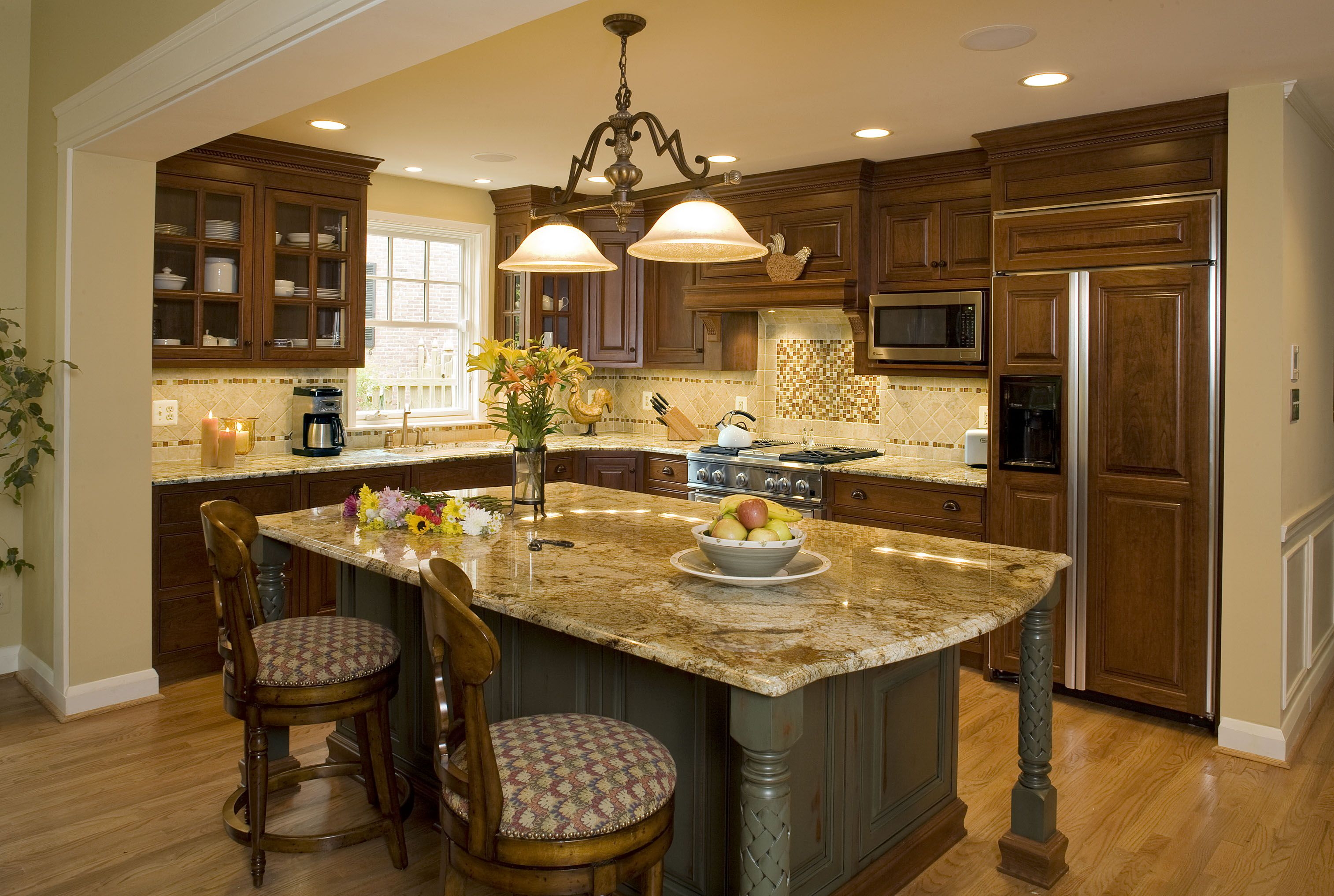 Painted Kitchen Island Granite Counter Top Seating Large