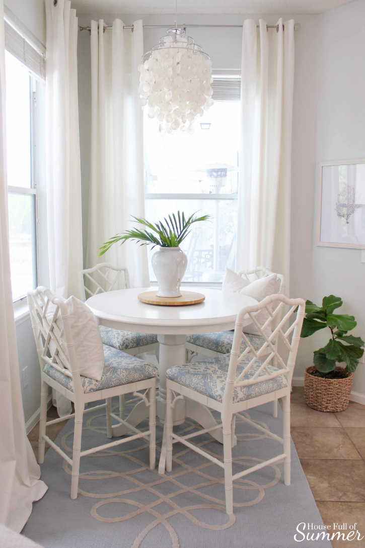 Custom Upholstered Stools For The Breakfast Nook House Full Of Summer Coastal Home Lifestyle Coastal Dining Room Table Coastal Dining Room Counter Height Dining Room Tables