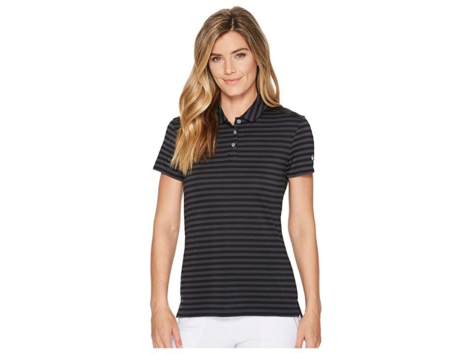 efdad7a9 Nike Golf Dry Polo Short Sleeve Stripe (Black/Anthracite/Flat Silver)  Women's