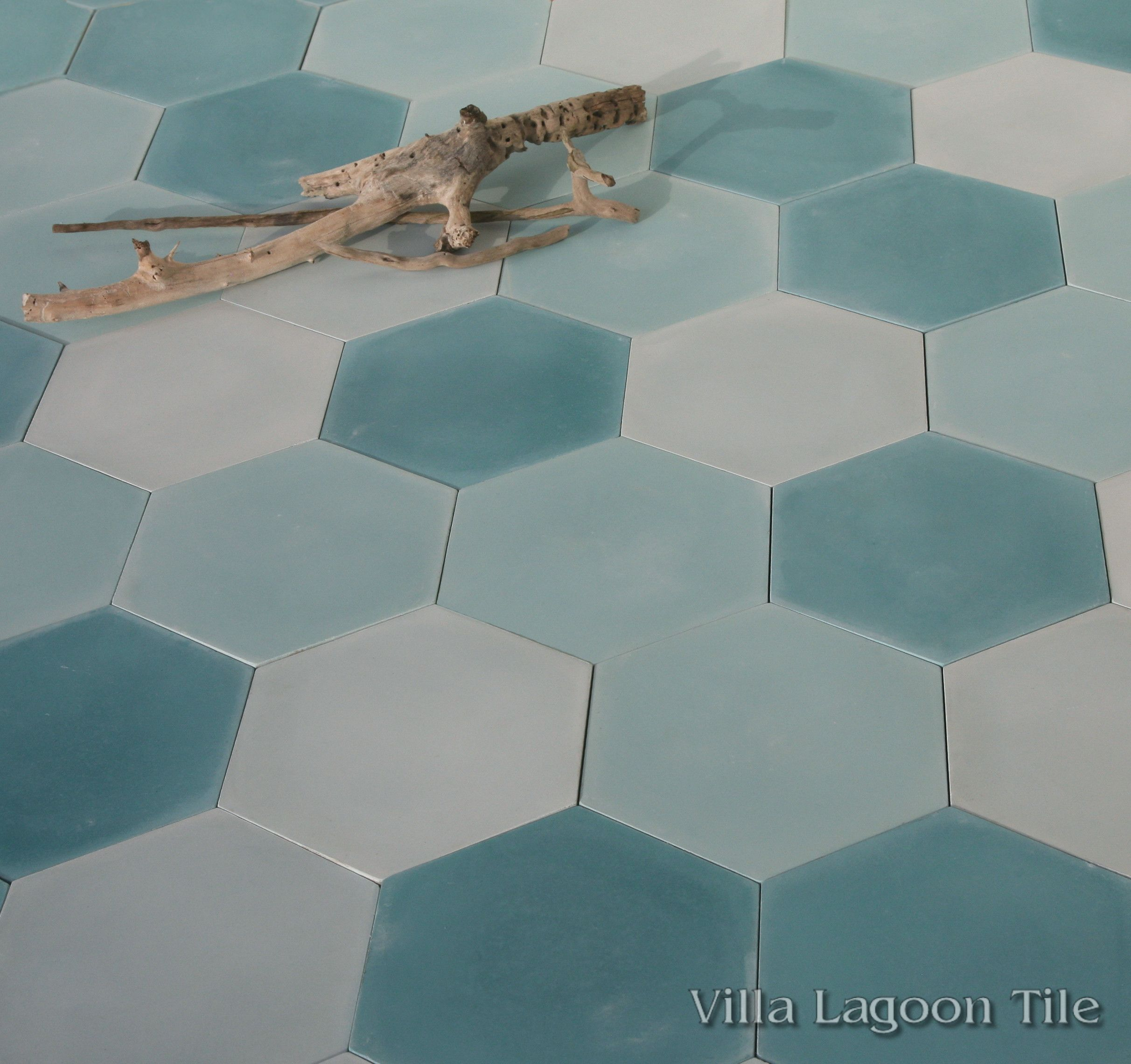 Mixed Aqua Hex Cement Tile From Villa Lagoon Tile Tile