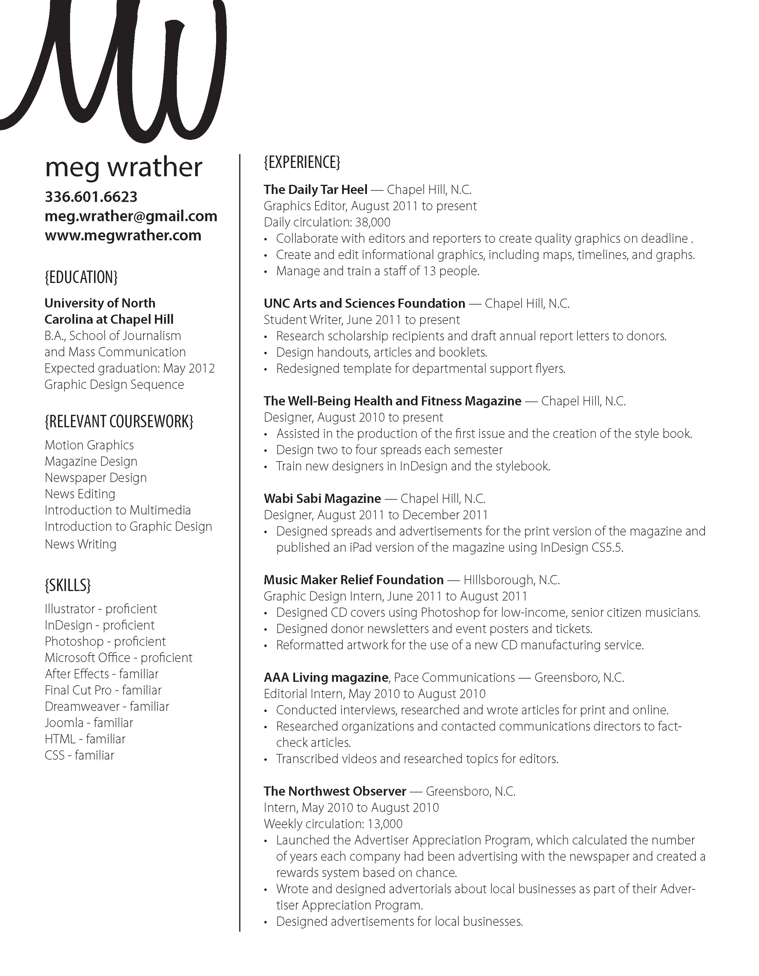 Meg Wrather With Images Resume Design Informative Resume