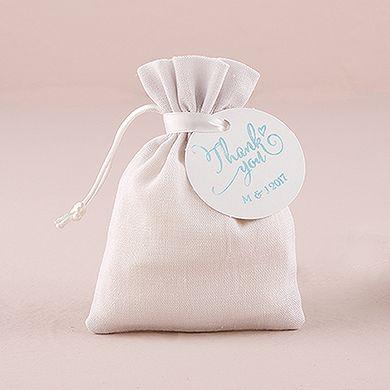 White Linen Drawstring Favor Bag | Favor bags, Favors and Weddings