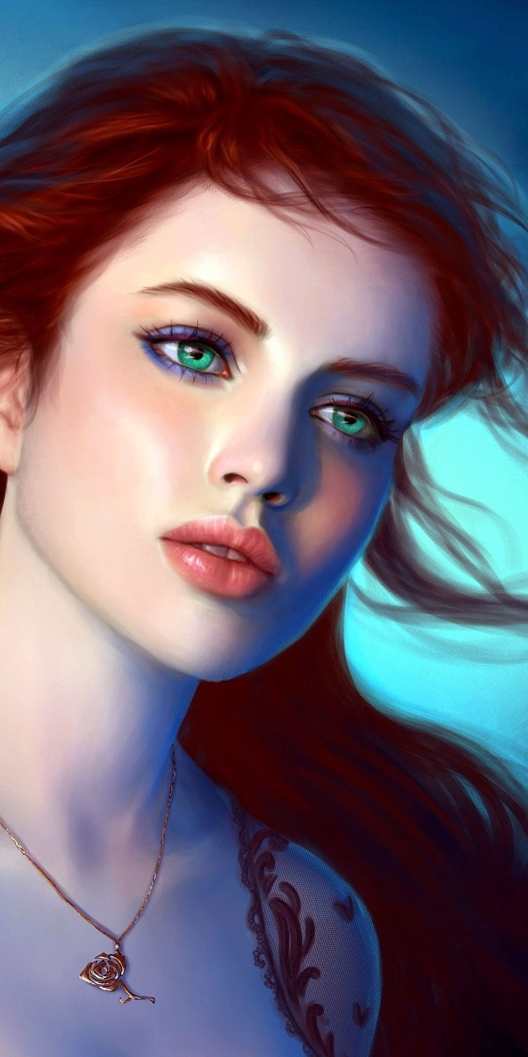Fantasy Artwork Beautiful Green Eyes Girl 1080x2160 Wallpaper