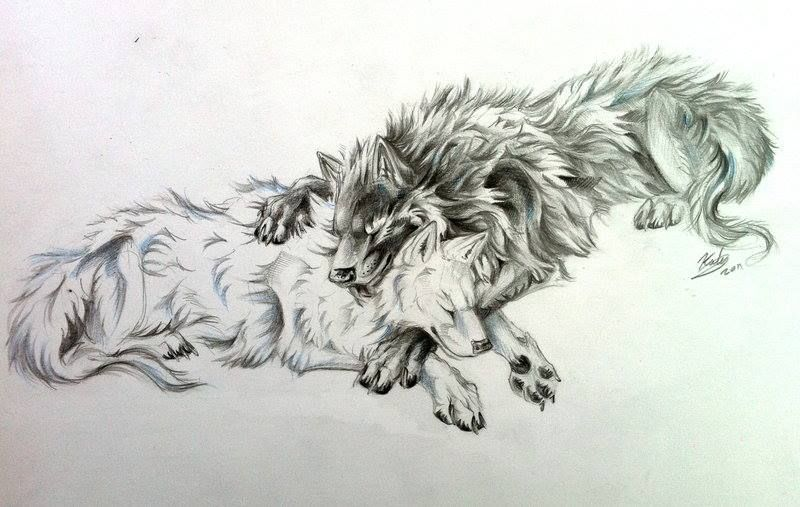 White Black Wolves Two Wolves Tattoo Wolf Tattoo Tribal Wolf Tattoo