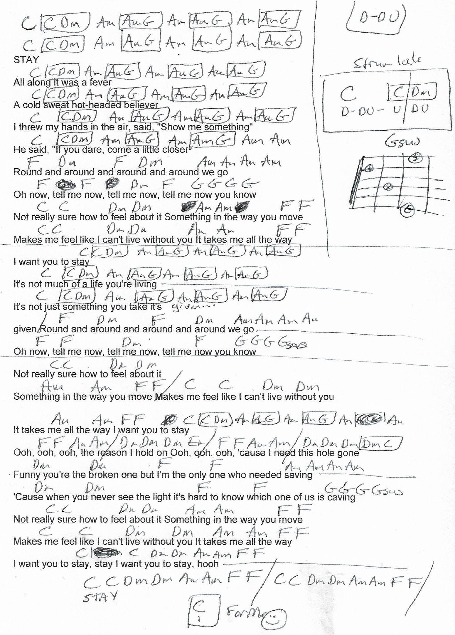Stay Rihanna Guitar Chord Chart 2018 Guitar Lesson Chord
