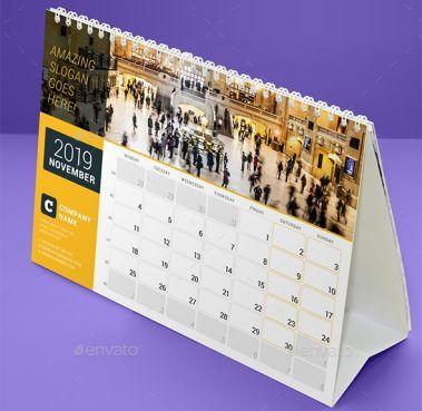 22416734-Desk Calendar 2019 3 (Dengan gambar) | Desain