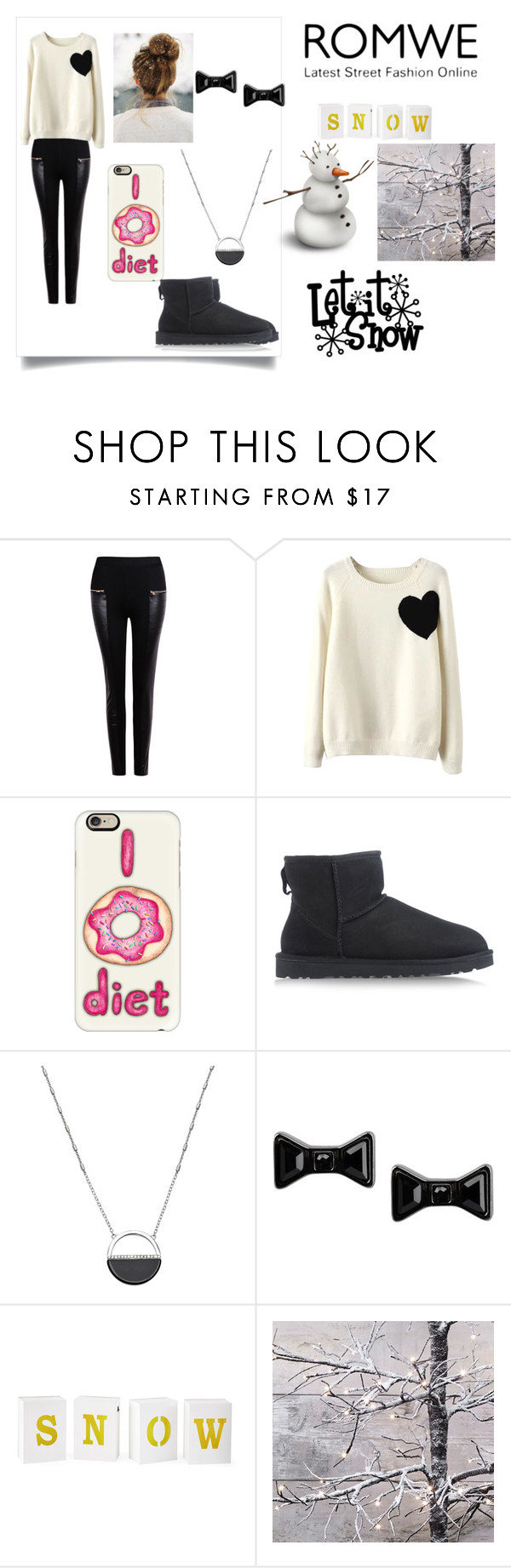 """""""Snow Day - Romwe Contest"""" by btrfan66 ❤ liked on Polyvore featuring WithChic, Casetify, UGG Australia, White House Black Market, Marc by Marc Jacobs and North Pole Trading Co."""
