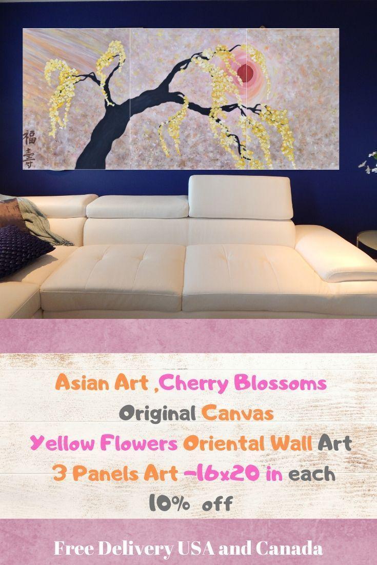Abstract #FlowerArt #Yellow Flower Acrylic Canvas #Cherry #TreePainting #3Panels  Original Asian Flo  #Abstract #FlowerArt #Yellow Flower Acrylic Canvas #Cherry #TreePainting   #3Panels #Abstract #Acrylic #Asian #canvas #cherry #flo #Flower #FlowerArt #Original #treePainting #yellow