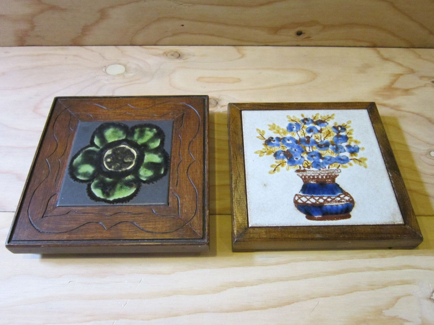 Two lovely art ceramic tile and wood pot holder trivets italian two lovely art ceramic tile and wood pot holder trivets italian and spanish ceramic decorative dailygadgetfo Image collections
