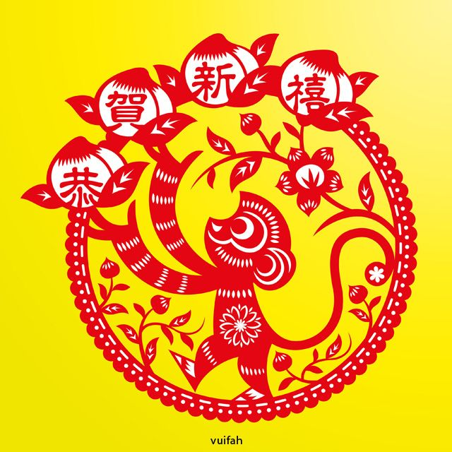 Cute Chinese Traditional Paper Cutting Style Monkey And Fortune