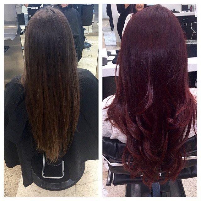 Now That S An Intense Red We Love The Deep Dark Transformation From A Neutral Brown To Cabernet Bymario Photo Credit Burgundy Hair Burgundy Hair Dye Hair