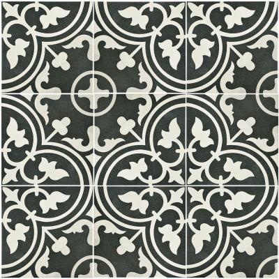Merola Tile Arte Black Encaustic 9 3 4 In X 9 3 4 In Porcelain Floor And Wall Tile 11 11 Sq Ft Case Fcd10arb The Home Depot Porcelain Flooring Flooring Floor And Wall Tile