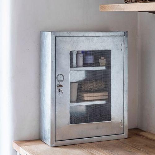 Boîte à pharmacie en acier galvanisé avec 2 étagères et clé