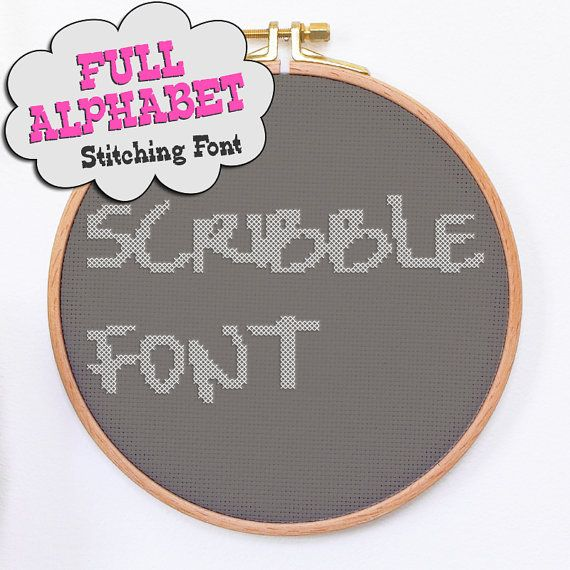 Cross stitch alphabet SCRIBBLE modern cross stitch font hand