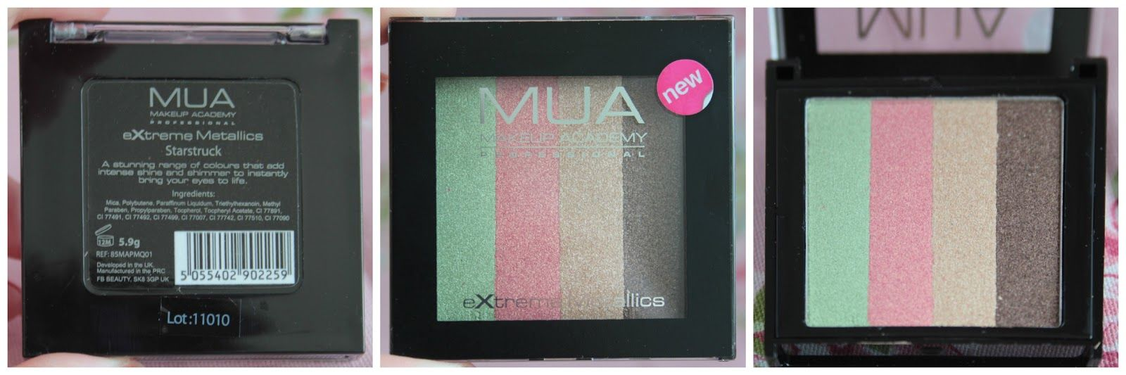 MUA Extreme Metallics quad eyeshadow in Starstruck review