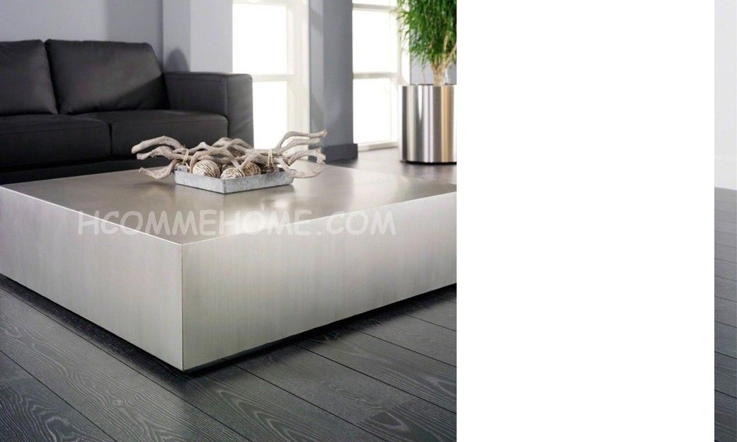 Table basse design carrée en acier brossé EKLA | Table basse ...