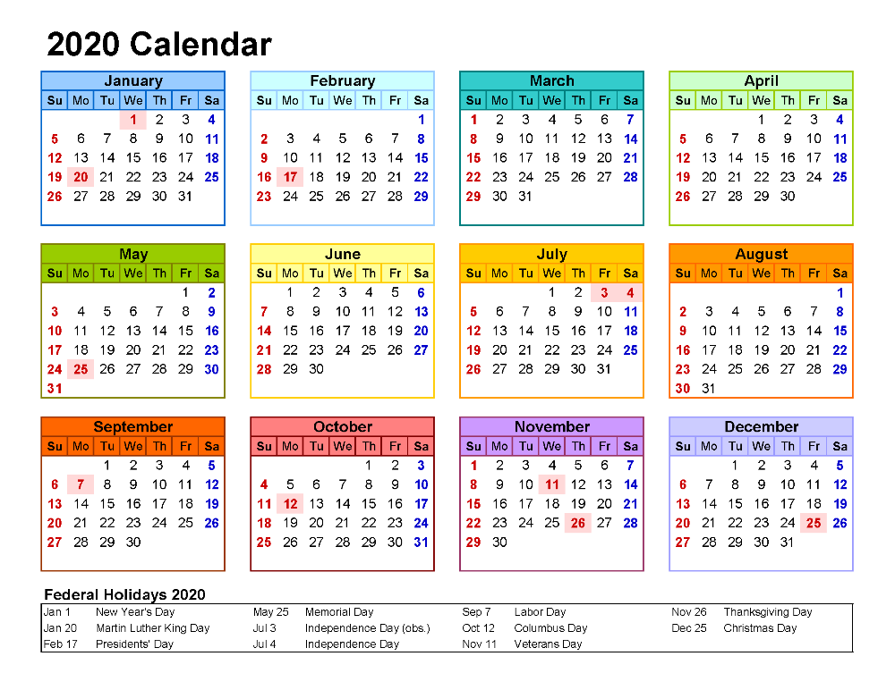 Free Printable 2020 Yearly Calendar with Holidays Free