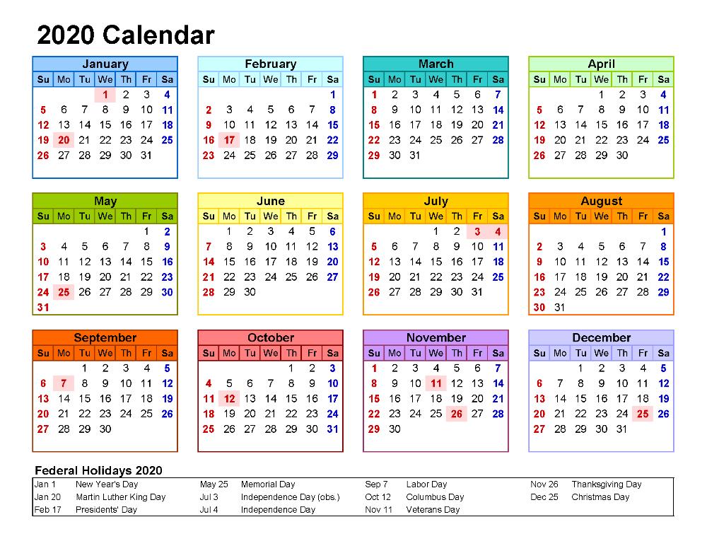 Free Printable 2020 Yearly Calendar with Holidays | Free Printable