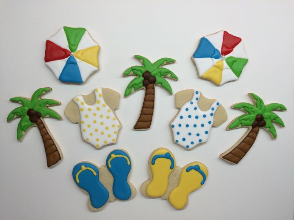 Summer beach sugar cookies with royal icing