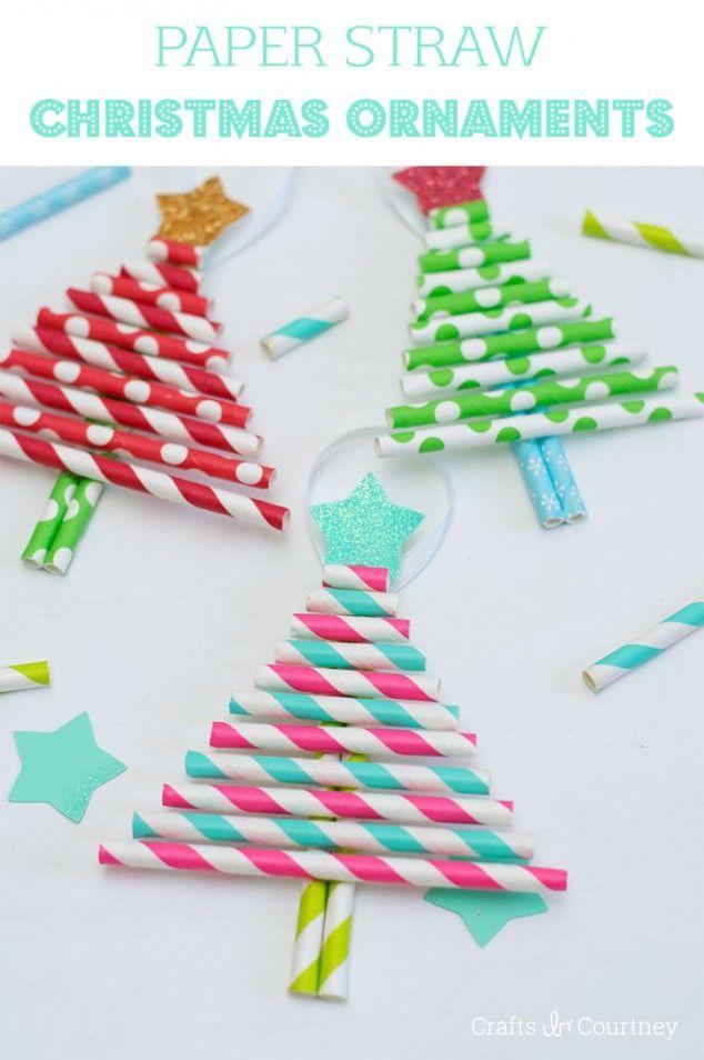 Kids Diy Ornaments Pretty Paper Straw Christmas Trees Paper Christmas Ornaments Christmas Tree Crafts Diy Christmas Ornament Crafts