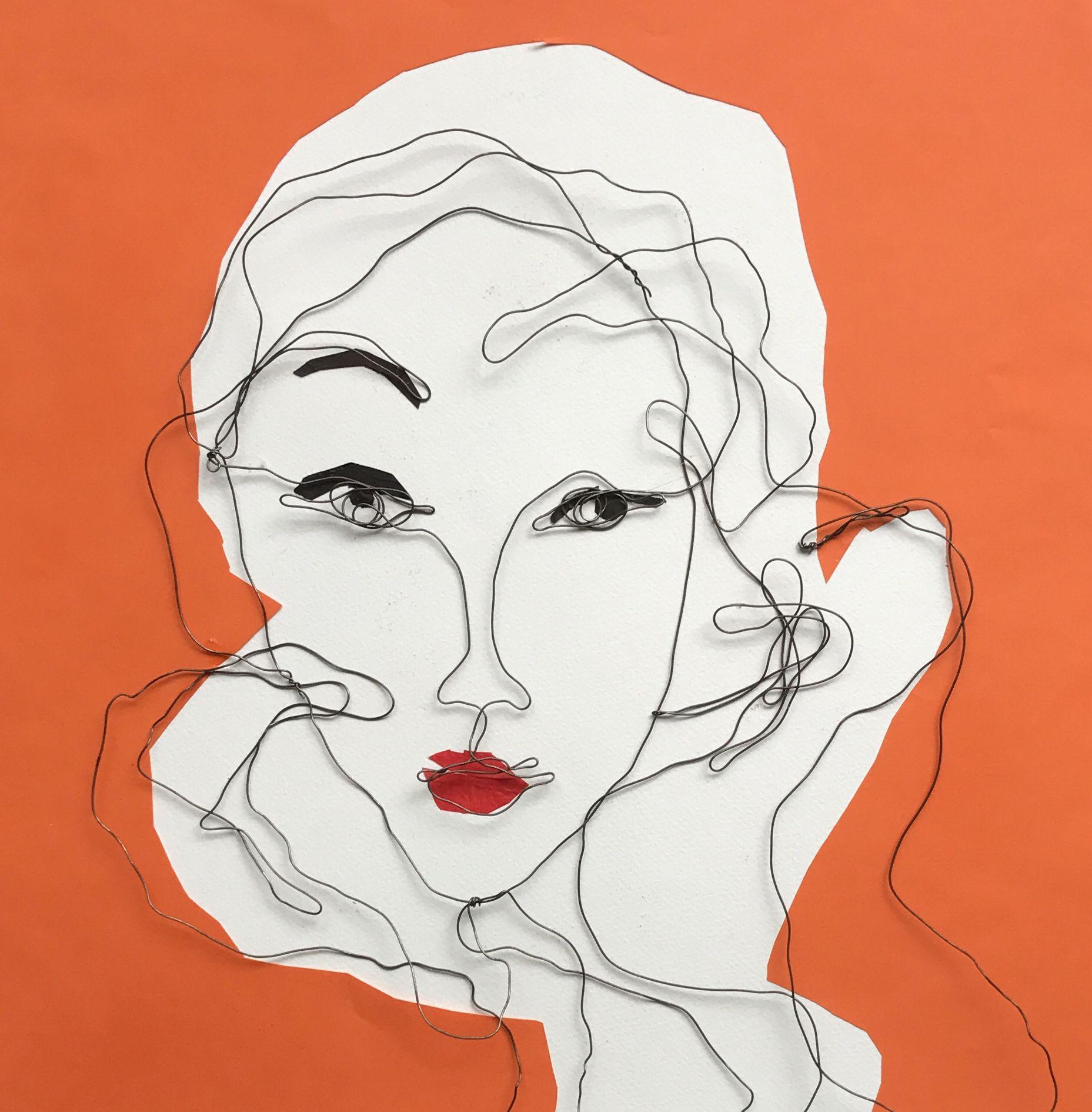 Mixed media. Steel wire portrait. Paper collage. Ellen. 50x50 cm.