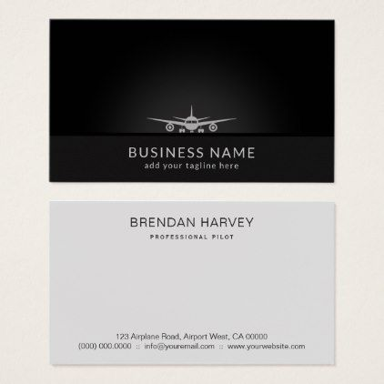 Cool plane silhouette landing on tarmac aviation business card colourmoves