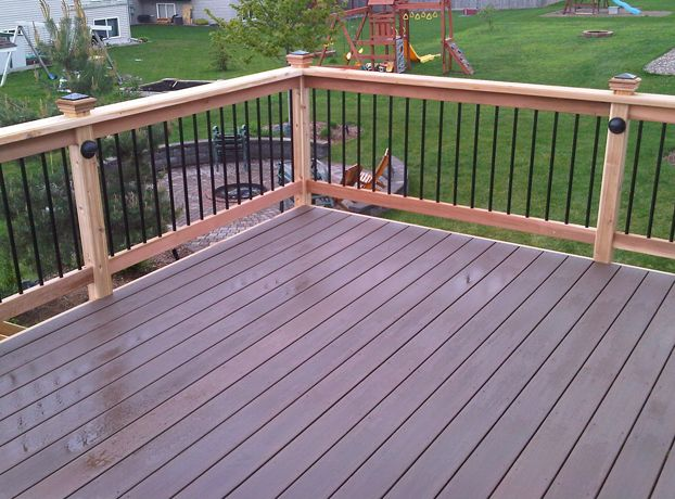 Best Azek Acacia With Cedar Railings Banister Remodel Deck 400 x 300