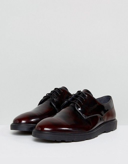 Silver Street High Shine Lace Up Shoes In Burgundy EVrjMr