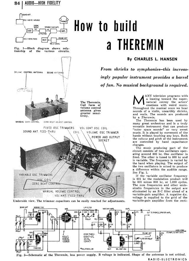 theremin info    how to build a theremin  1953