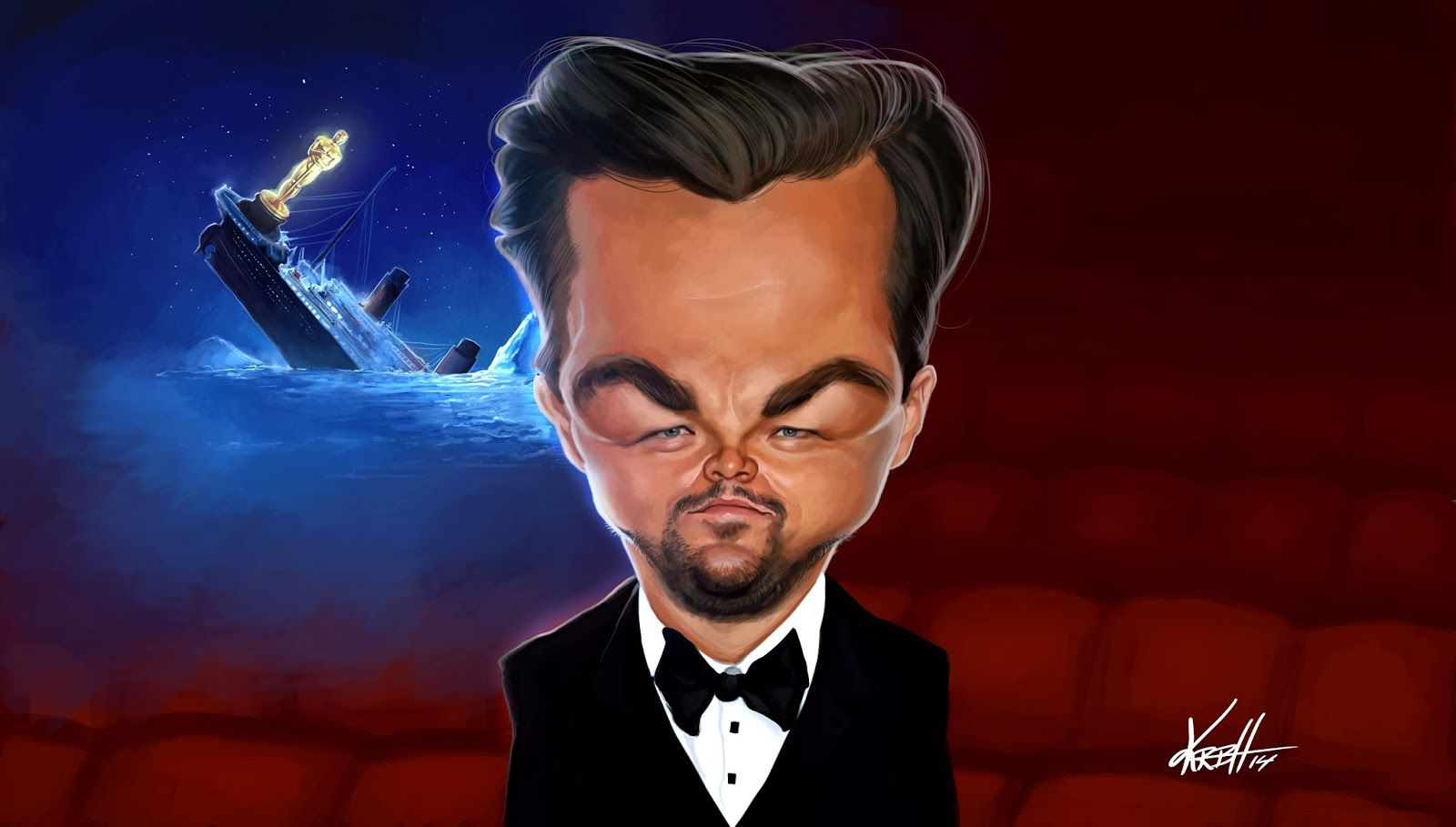 Ken's Caricatures: Better luck next time, Leo! (Magazine illustration)