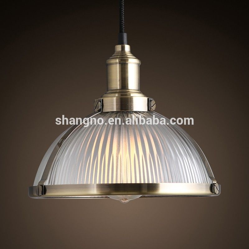 Photo of American retro industrial decoration glass lamp shade chrome adjust height pendant light for …