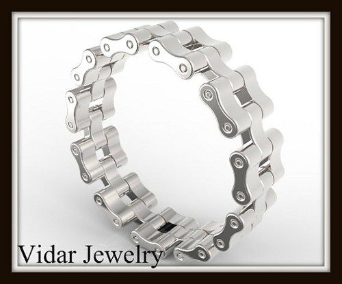 unique sterling silver bike chain mens wedding ring let him commit and yet feel the freedom