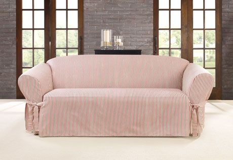 Sure Fit Slipcovers Ticking Stripe One Piece Slipcovers - Sofa | The ...
