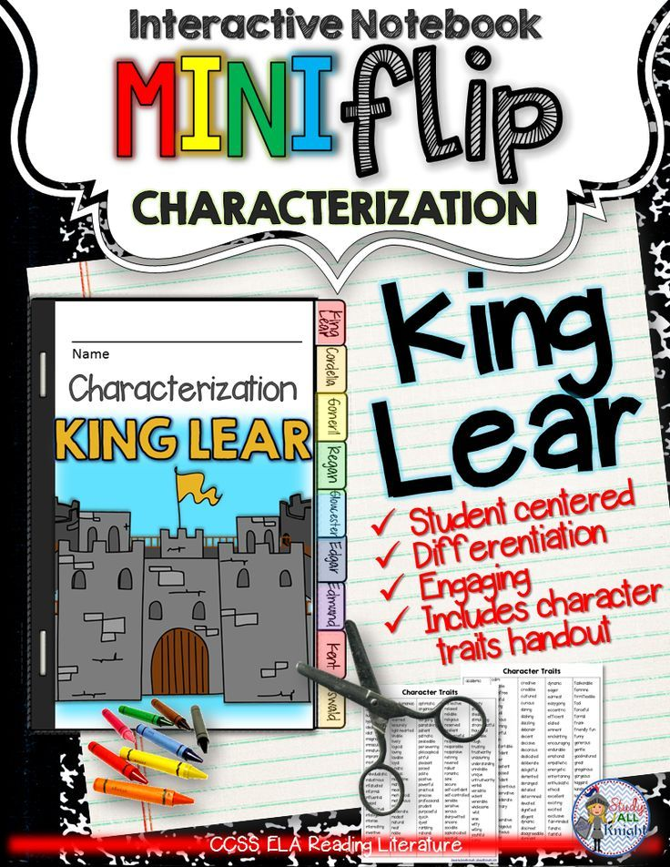 King Lear: Interactive Notebook Characterization Mini Flip ($)
