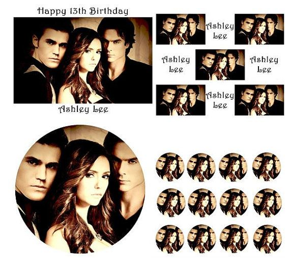 The Vampire Diaries Birthday Cake Frosting Edible Image Toppers