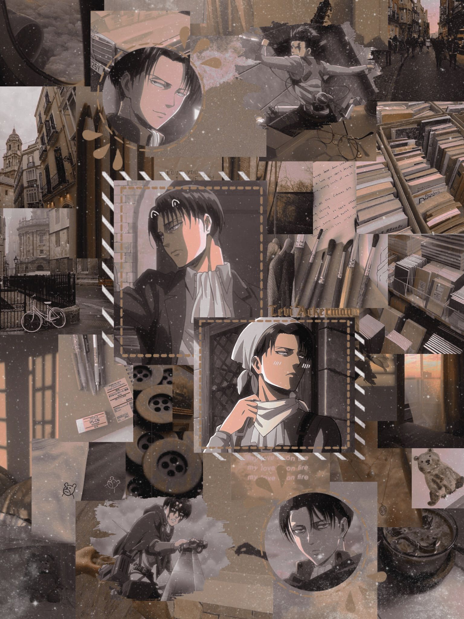 ɇ' Lunaaaa Exe Captain Levi Ackerman Aesthetic Phone Wallpaper Brown In 2020 Anime Wallpaper Cute Anime Wallpaper Aesthetic Anime