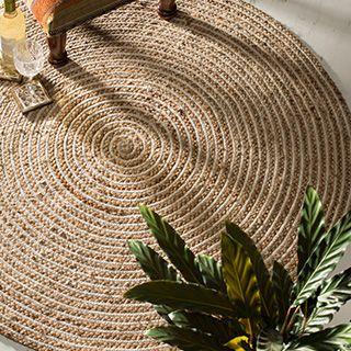 Extra Large Round Natural Braided Rug, Jute U0026 Cotton