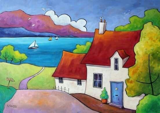 Gillian Mowbray Paisajes Pinturas Arte Pintura Primitiva