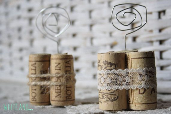 Set Of 20 Wine Cork Place Card Holders With Lace By Whiteanddecor Wine Cork Place Card Holder Place Card Holders Wine Cork