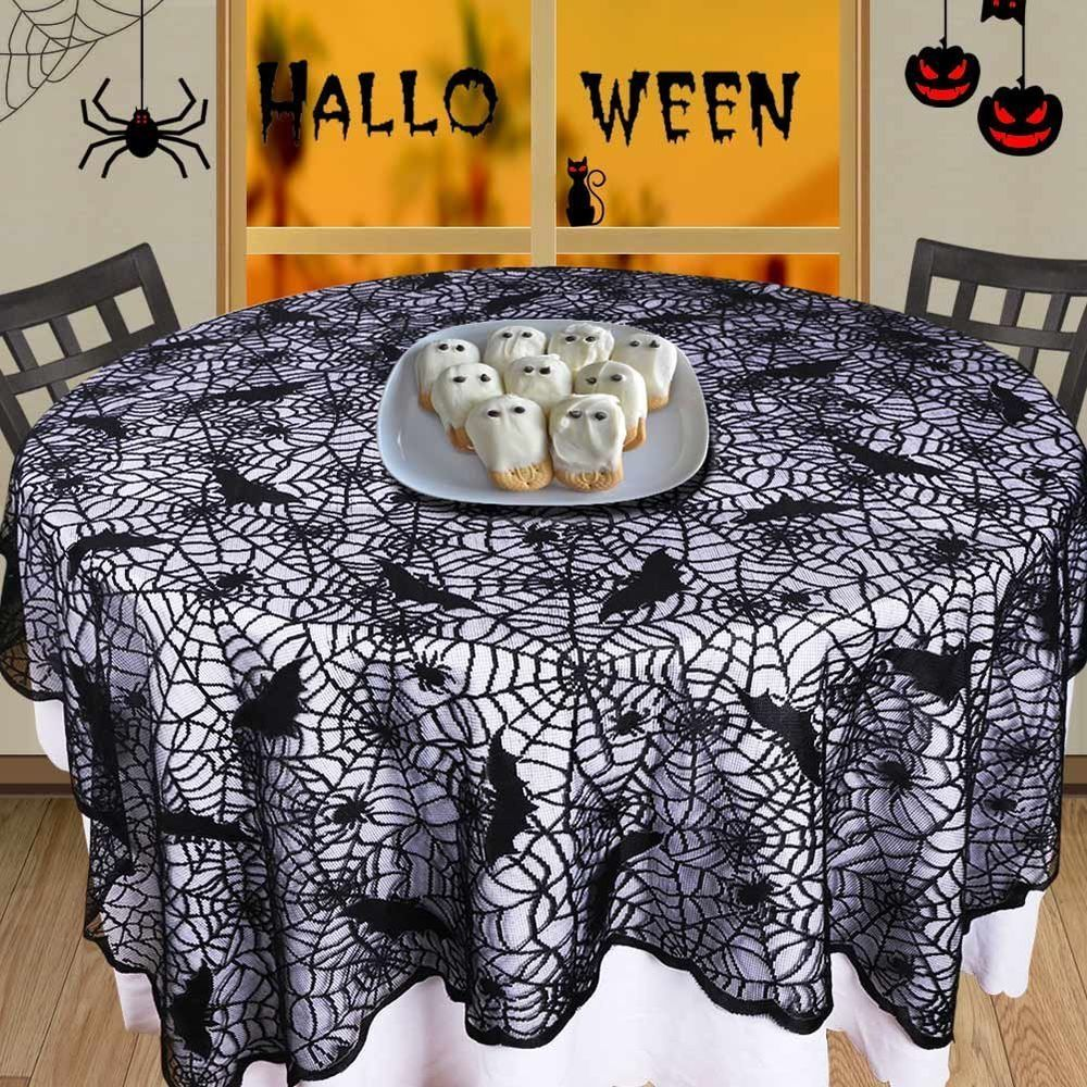 Halloween Spiderweb Tablecloth Black Lace Fabric Square Table Cloth  Decoration #OuwRarm