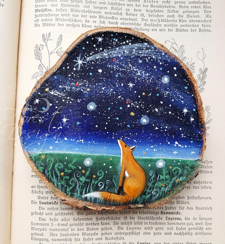 Original Painting Fox Wood Slice Art Acrylic Painting Painting On