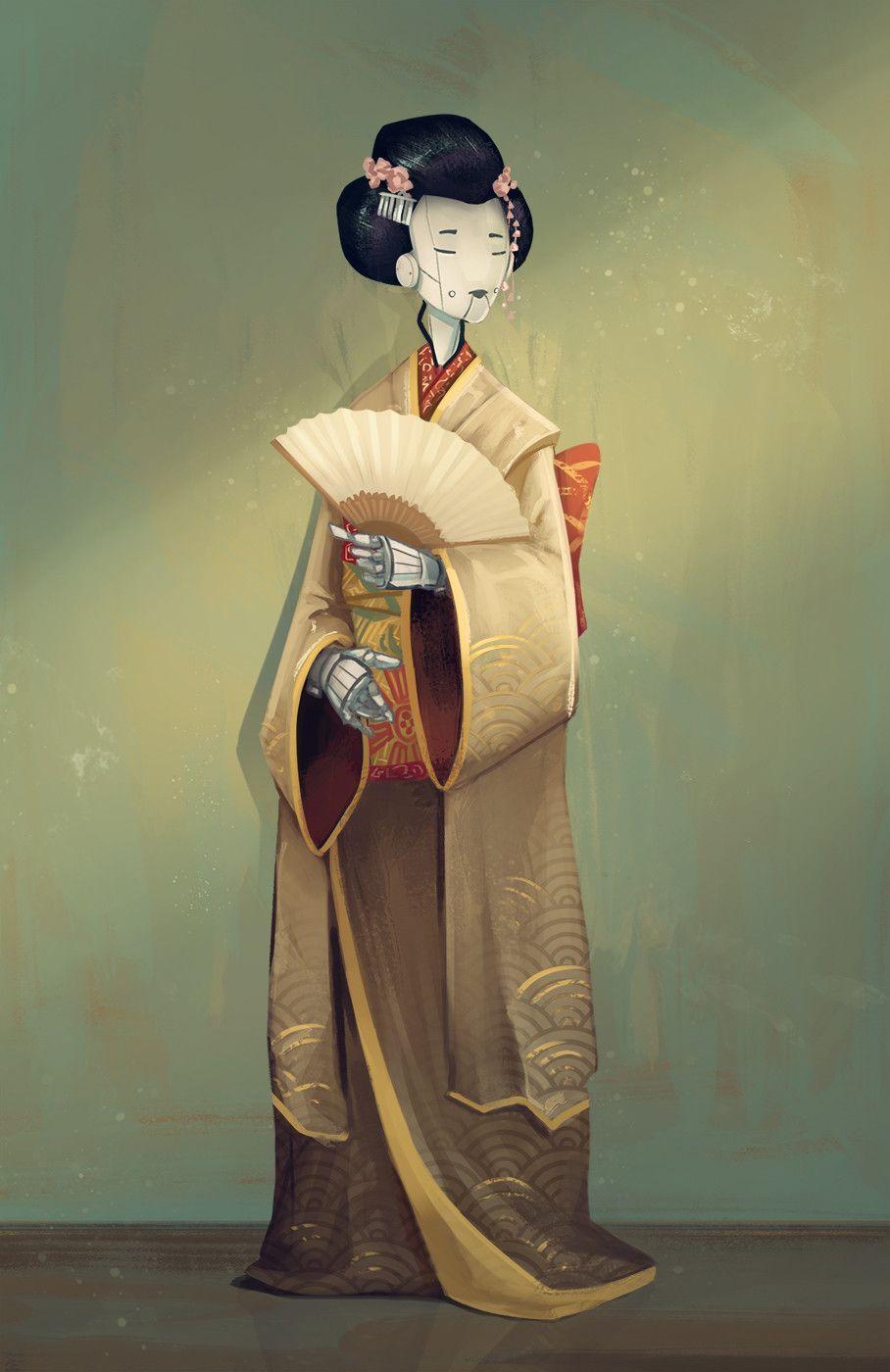 Ghost In The Shell Japan Geisha Robot Red Printed Kimono Cosplay Costume Custom