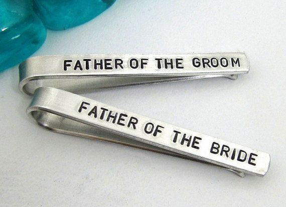 Father of the Bride and Groom Personalized Tie Clips (set of 2) - Hand Stamped T... Father of the Bride and Groom Personalized Tie Clips (set of 2) - Hand Stamped T...