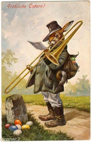 POSTCARD THIELE EASTER RABBIT PLAYS TROMBONE 1911 T.S.N. SERIES 1157