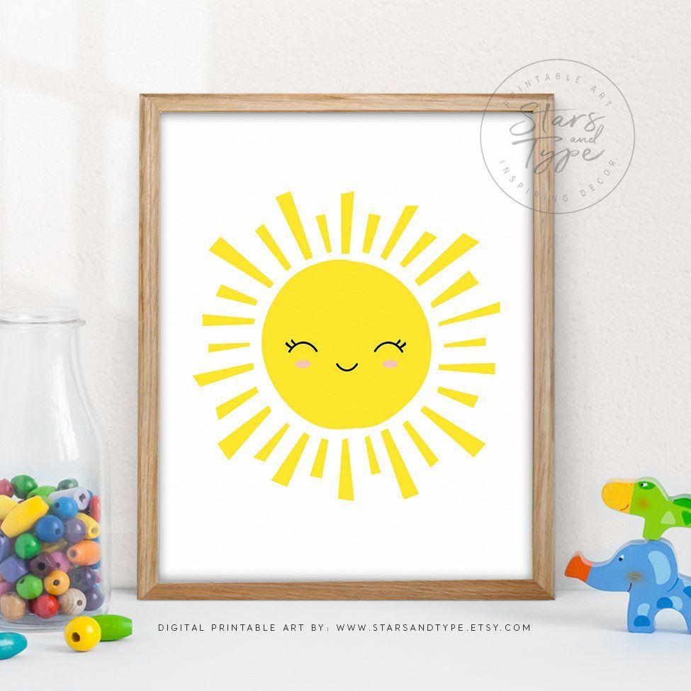 Sun Shining, Happy Smiling Yellow Sunshine, PRINTABLE Wall Art, Sun Cartoon Illustration Sign, Kids Bedroom Nursery Decor, Digital Print Jpg is part of Scandinavian bedroom Yellow - www StarsAndType etsy com