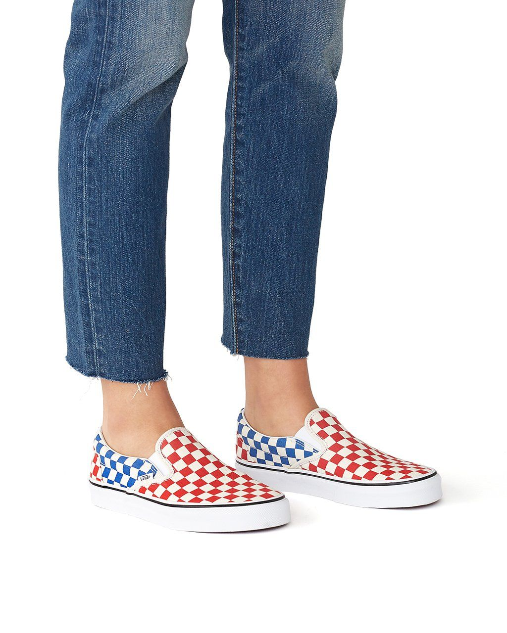 classic slip-on - red and blue check by vans - shoes - ban.do ... 917c7fc32
