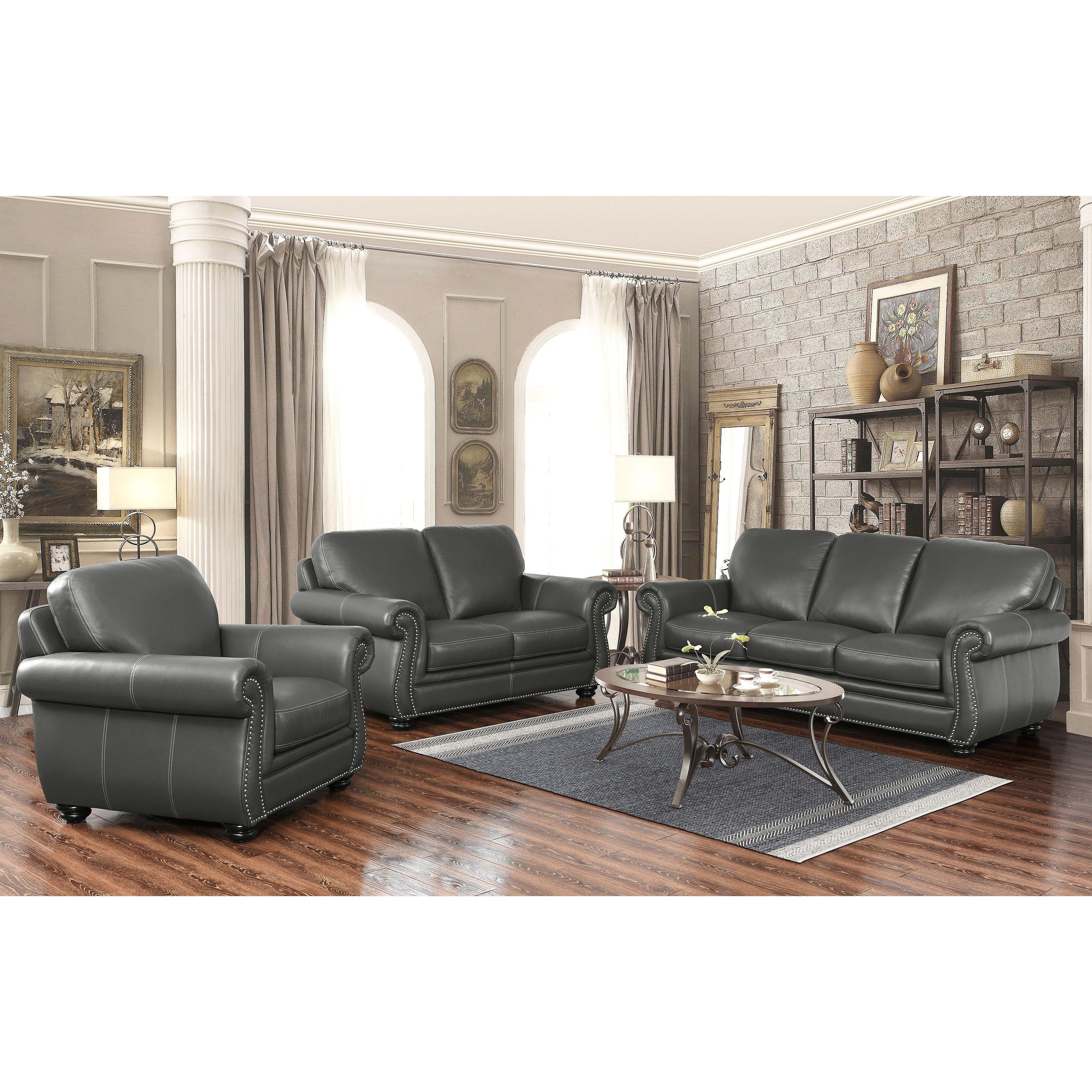 Best Abbyson Kassidy Grey Top Grain Leather 3 Piece Living Room 400 x 300