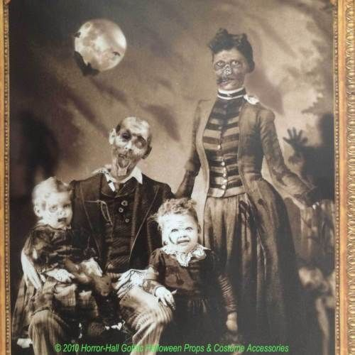 Gothic Horror Zombie Family Portrait Cling Halloween Picture