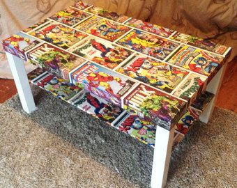comic decoupage table with white border | olly's room | pinterest